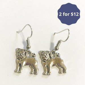 Pug Dog Dangle Earrings Tibetan Silver Simple NEW